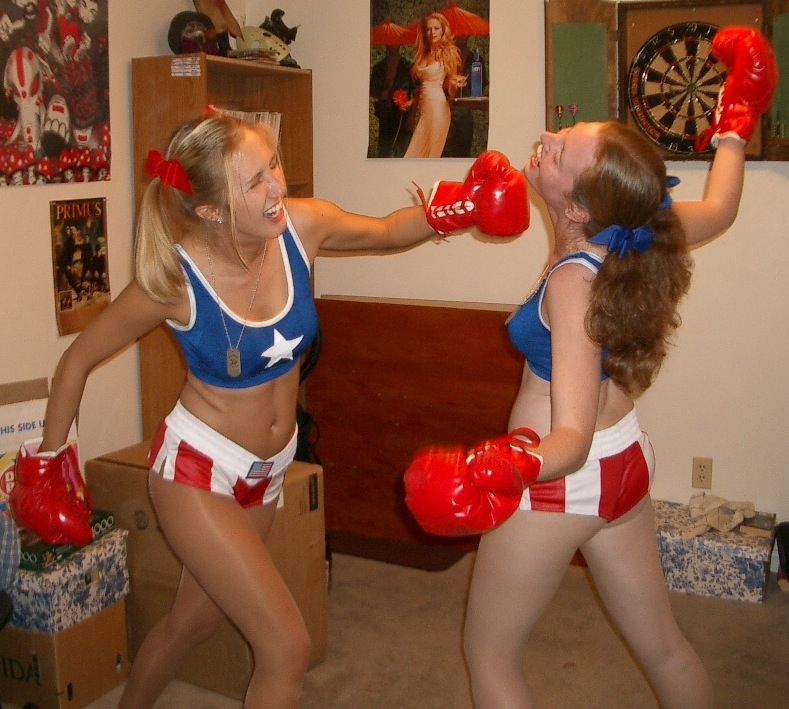 Girls boxing topless foxy
