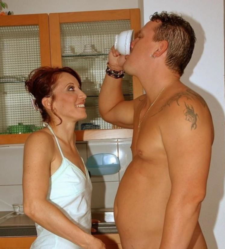 Dressed women dominate naked men